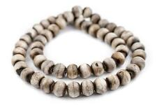 Grey Round Bone Beads 14mm Nepal Large Hole 25 Inch Strand