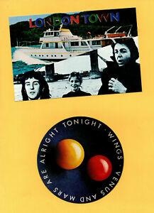 PAUL McCARTNEY, (WINGS) ~ Orig 70's sticker & postcard. EX+.