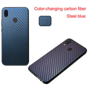 For iPhone Discolor Carbon Fiber Back Cover Skin Screen Protector Soft Film New