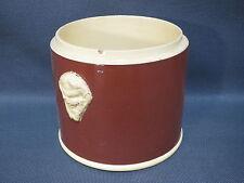 Ancien pot à à tabac en céramique décor tetes de lion terre à feu Sarreguemines