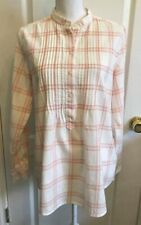 LANDS END Womens Flannel SHIRT Popover IVORY Pink PLAID Long Tab Sleeves Size 10