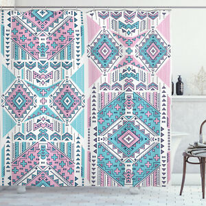 Tribal Shower Curtain Pink Teal Aztec Print for Bathroom