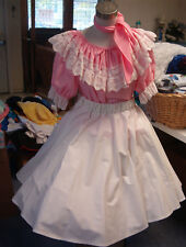SQUARE DANCE PINK  BLOUSE-SOLID WHITE SKIRT & TIE  SZ.  MED/LARGE