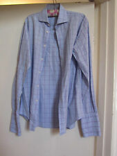 "Blue Purple & White Check Slim Fit TM Lewin 100 Shirt 15.5"" Collar - Chest 446"""