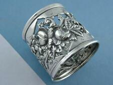 elaborate Sterling Reed & Barton Napkin Ring w/ pierced Floral Rose pattern