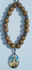 Car Wood Wooden Beads & Saint St Theresa Teresa of the Andes Charm Pendant