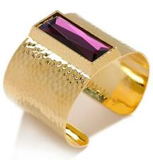 IMAN Global Chic South Beach Bold Crystal Hammered Cuff $79.95 NEW Purple