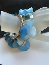 VTG Lucite Wavy Disc Cha Cha Chunky Dangle Expansion Bracelet SHADES of BLUE
