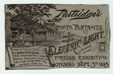xRARE Advertising Trade Card Photographer Electric Light Photo Studio 1883