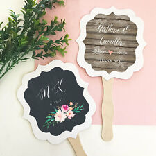 24 Personalized Paddle Fans Rustic Floral Garden Wedding Party Favors Lot Q47137