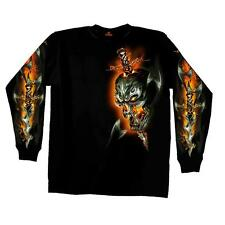Mens Long Sleeve Electric Skull Design Biker T-Shirt Motorcycle Black Size XXL