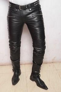 Cuir Jean Homme S Pantalon Droit Rock Revival Leggings Slim Agneau Noir 2