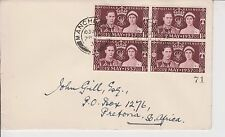 KGVI COVER FROM GB TO PRETORIA, SOUTH AFRICA CORONATION BLOCK STAMPS 28/7/37