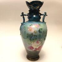 Antique Signed Hand Painted, Beautiful  Floral Porcelain ROYAL BONN Large Vase