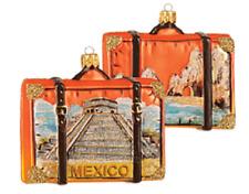 Mexico Suitcase Chichen Itza Travel Glass Christmas Tree Ornament 110050
