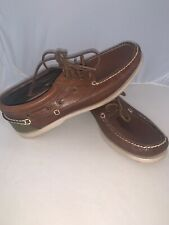 Ralph Lauren Polo Soren Leather Boat Shoes Mens Size 11D Brown Green Lace