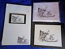 Duck and Kitten Friends 4 Pc Set-Notepad, 6 Blank Notecards, Print and Magnet