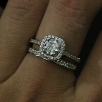 1.20 Ct Moissanite Diamond Wedding Band Set White Gold Finish Ring Size H,I UK