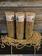 Gold Glass beads beaded Christmas garland Large Lot 3 strands 66ft plus