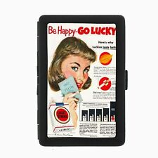 Lucky Strike Black Cigarette Case D9 Metal Wallet Vintage Cigarette Smoking Ad