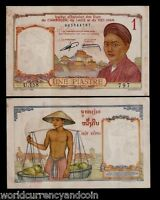 FRENCH INDO CHINA 1 PIASTRE P-92 1953 AUNC BUFFALO VIETNAM FRENCH MONEY BANKNOTE