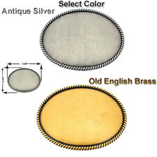 """Western Buckle Blank With Rope Edge Oval For Leather Craft 2 Colors Fits 1-1/2 """""""