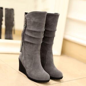 Hot Womens Mid Calf Boot Wedge Tassel Round Toe High Heel Suede Slouchy Side Zip