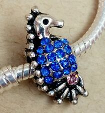 Blue Crystal Seahorse Pink CZ Silver Plated Bead fit European Charm Bracelet