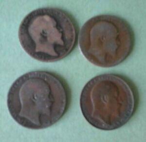 EDWARD V11 HALFPENNY x  4  :  1907(1) ; 1908(1) ; 1910(2)