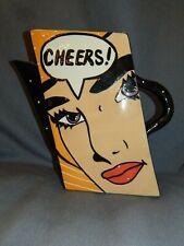 "LARGE JOANNE DELOMBA ROY LICHTENSTEIN POP ART "" CHEERS "" GRAPHIC COMIC JUG"