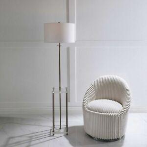 """PALLADIAN MODERN CRYSTAL & METAL XL 67"""" FLOOR LAMP DRINK TABLE INSPIRED"""