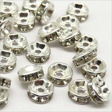 Lot de 50 Perles Strass Rondelles Intercalaires 6x3mm Argenté
