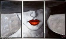 RANYA Large Hand-painted oil painting Sexy Red lips No frame 16x24x3pc inch