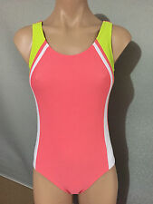 Girls Sz 14 Full Back Pink/White/Blue Target One Piece Swim Suit Bathers