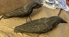 "Vintage Halloween Paper Mache Ravens Pair Crows Black Birds 16"" Long"