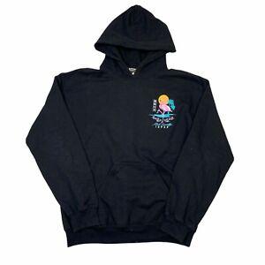 Riot Society Flamingo Blossom Graphic Hoodie Sweatshirt Black Mens S Small