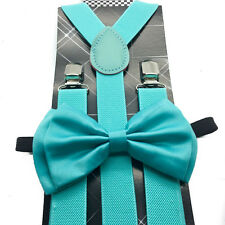New Teal Awesome Wedding Mint Blue Men's  Bow Tie & Suspender & Bow Tie Set