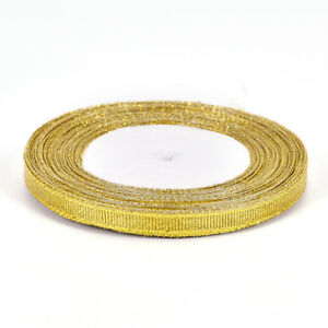 25yards/rool Silk Satin Ribbon Gold/Sliver Wrapping Christmas DecorativeDIY6m^lk
