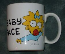 SIMPSONS BABY FACE Maggie Simpson pacifier coffee mug 1990
