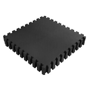 Black Interlocking Soft Foam Floor Mats For Exercise Gym Fitness Gymnastics, EVA