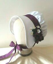 Regency Bonnet. Jane Austen. 100% SILK. Ivory/Plum. Reenactment Quality