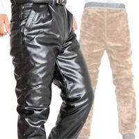 Winter Men's Leather Pants Thicken Fur lining Warm Outdoor Motorcycle Casual New