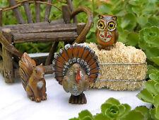 Miniature Dollhouse FAIRY GARDEN ~ Fall THANKSGIVING Harvest Owl TURKEY Squirrel