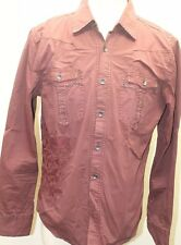 Parasuco Men L/S  Shirt Polo Cowboy Metal Beading Embroidery Burgundy M Cotton