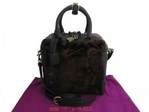 Auth ETRO Peisly Shoulder Handbag Dark Brown/Goldtone Velour/Leather - e48500g