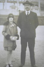 Elegant Girl w/ Downtown Style Cloche Flapper Hat Photo & Her Father