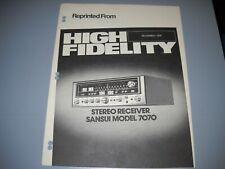 New listing Sansui 7070 Receiver, Brochure original Manual High Fidelity
