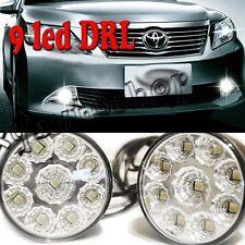2x 9LED Round Daytime Driving Running Light DRL Car Fog Lamp Headlight White
