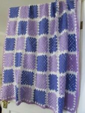 PRETTY PASTEL COLOURS GRANNY BLANKET / THROW, DOUBLE BED SIZE, WOOL MIX. NEW