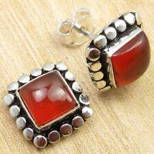 "Red Carnelian Wedding Sets Stud Earrings 0.4"" Silver Plated Jewellery BRAND NEW"